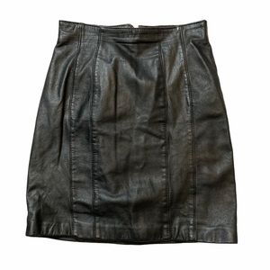 CHIA 100% Leather Pencil Skirt Black Lined Size 8